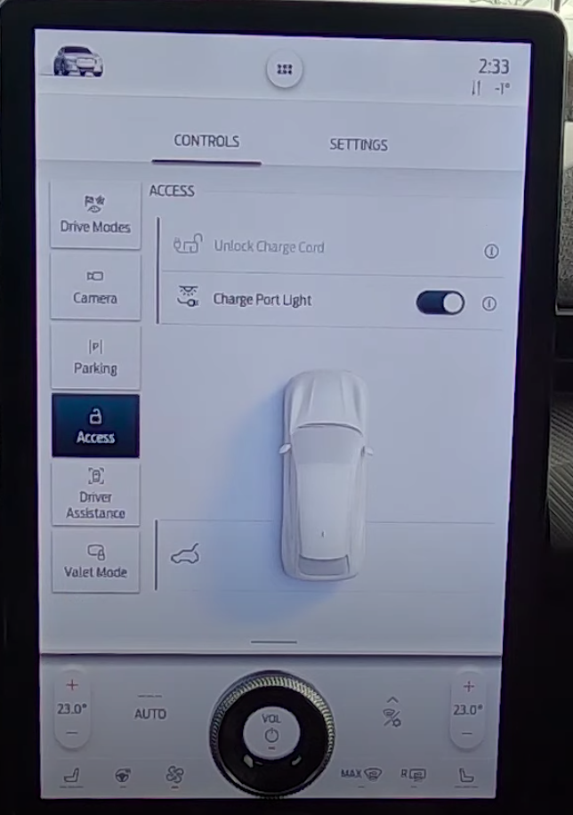Settings for the charging cord of a car