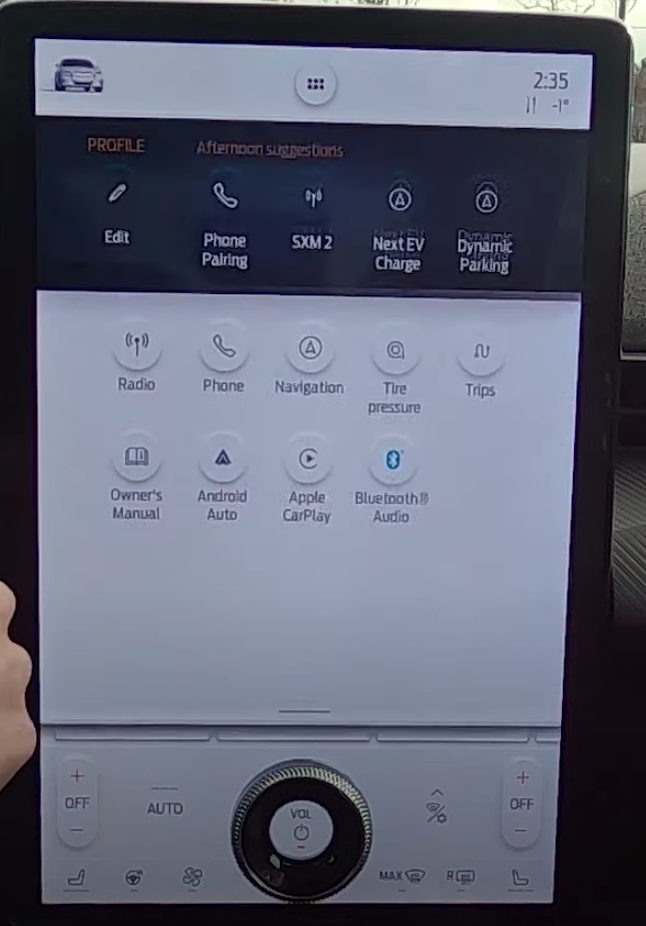 List of various apps on the infotainment system and their icons