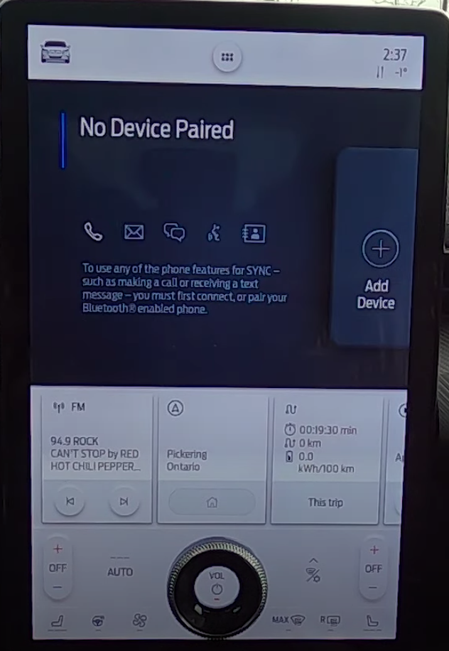 Disclaimer letting a user know that there are no phone paired and a button to add device