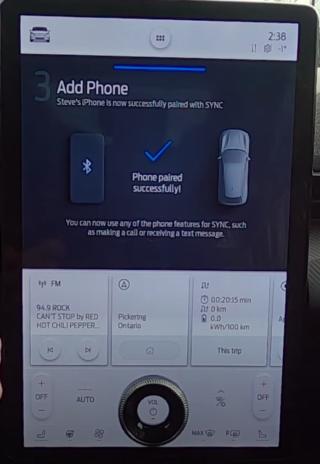 Informing the user that their phone and vehicle have been successfully connected