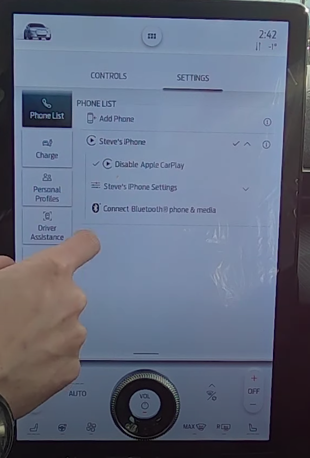 The details of the paired device accessed through the device manager