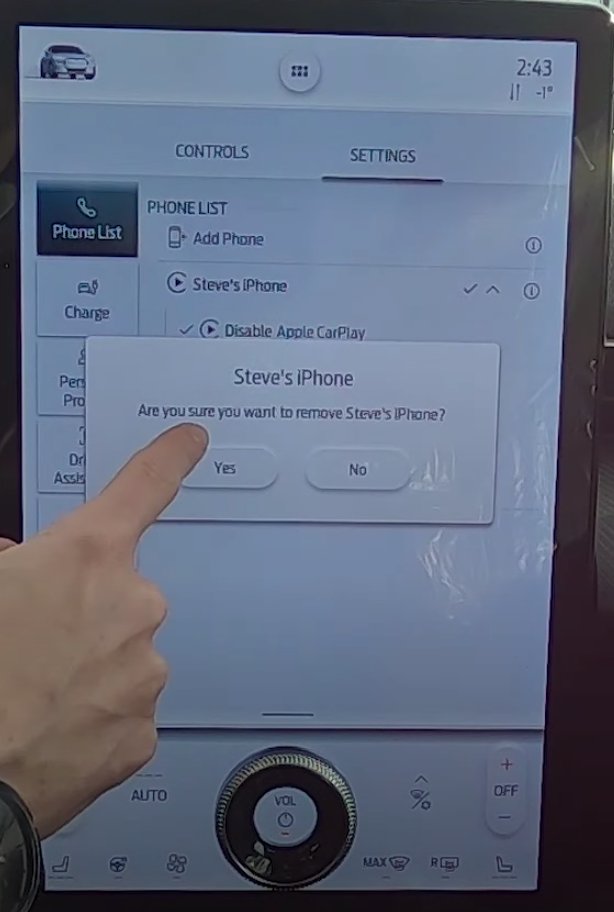 Option to delete a user's phone that is connected to the vehicle
