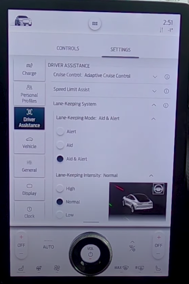 Lane keeping system settings including lane-keeping mode and intensity