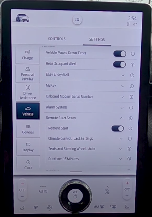 Setting up driving presets such as seat, steering wheel positions, temperature and remote start