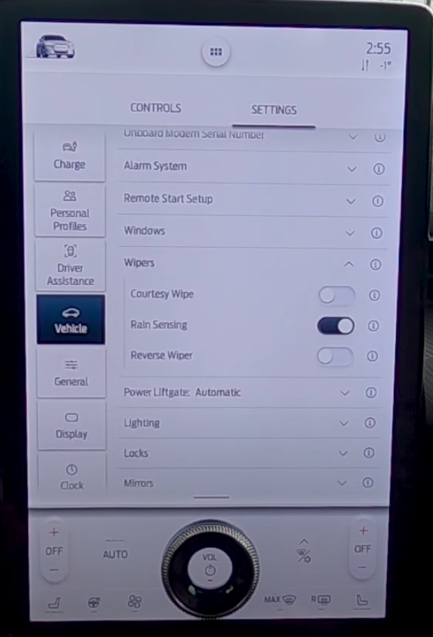 Settings page for wipers such as turning on and off rain sensing and reverse wipers