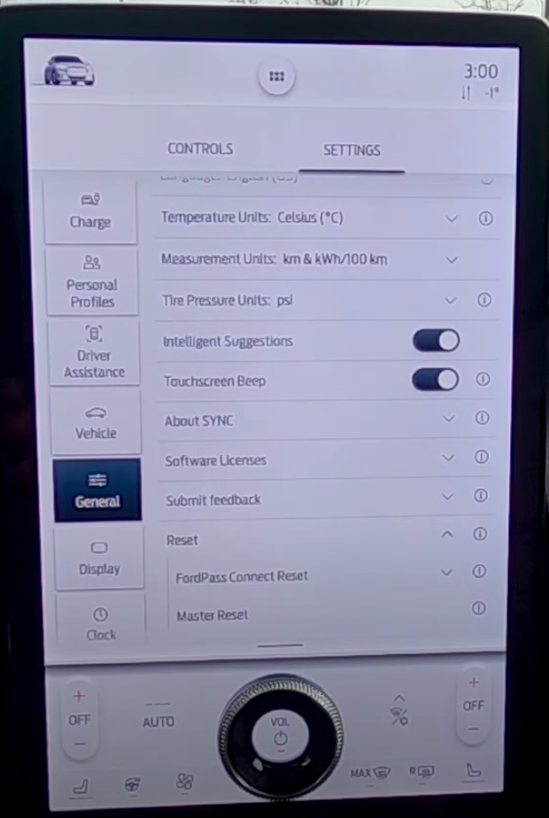 Option to reset general infotainment settings