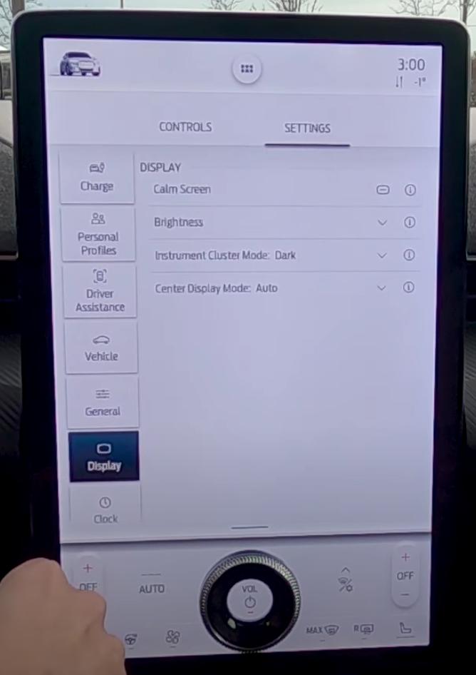List of various display settings such as brightness