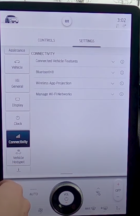 Various connectivity settings as a list such as bluetooth or wifi networks