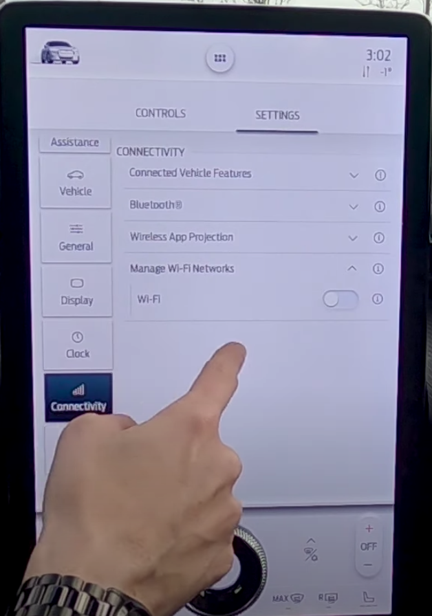 Turning on and off wifi with a toggle button under connectivity settings
