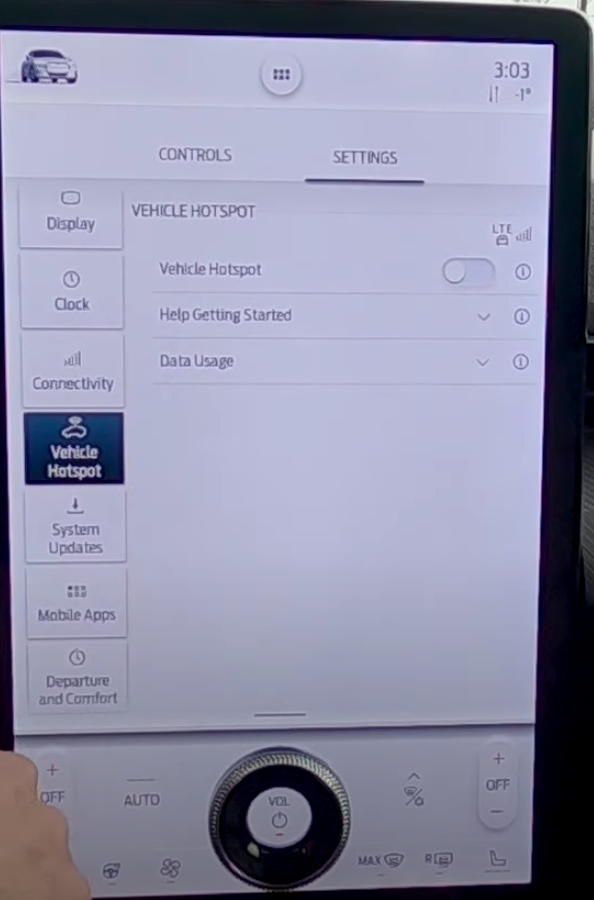 Vehicle hotspot settings such as turning it on and off or getting information about data usage and how to get started