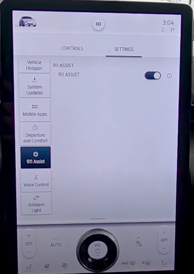 Turning emergency assist on or off through a toggle