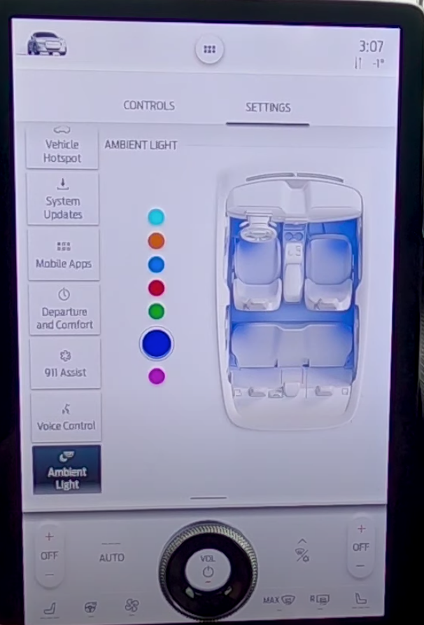 Ambient lighting settings with different colors to chose from with an illustration of the interior of a car next to it reflecting the color that has been selected
