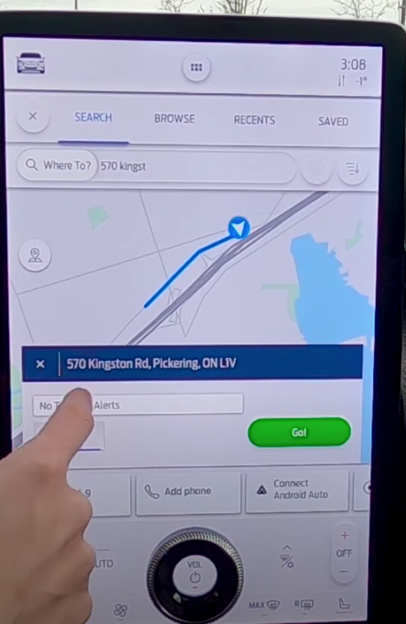 Road preview showing the journey that a user has selected before they start turn by turn navigation