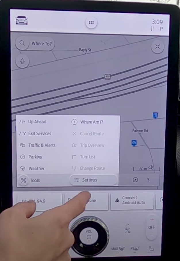 An information tab on top of the navigation map to help a user find info such as weather and traffic