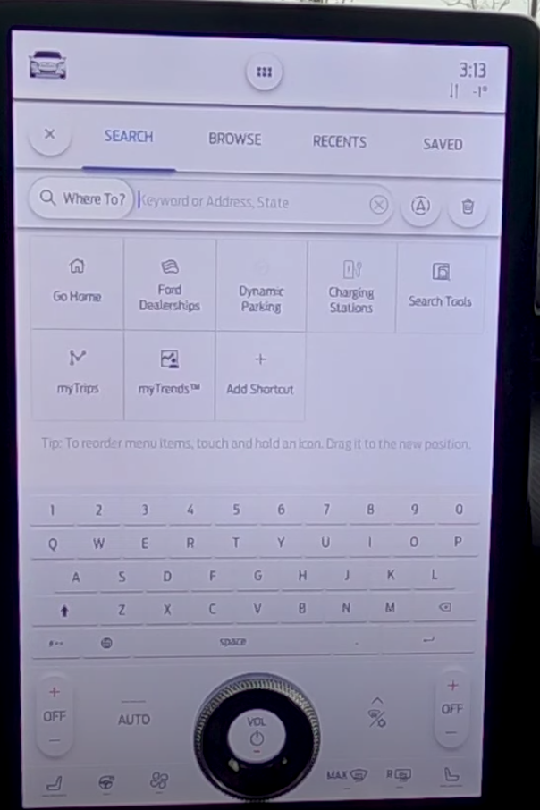 Virtual keyboard to input location within the navigation system