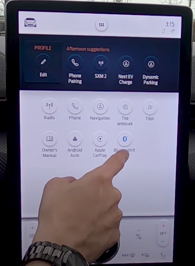 A list of various apps with their icons on the infotainment system
