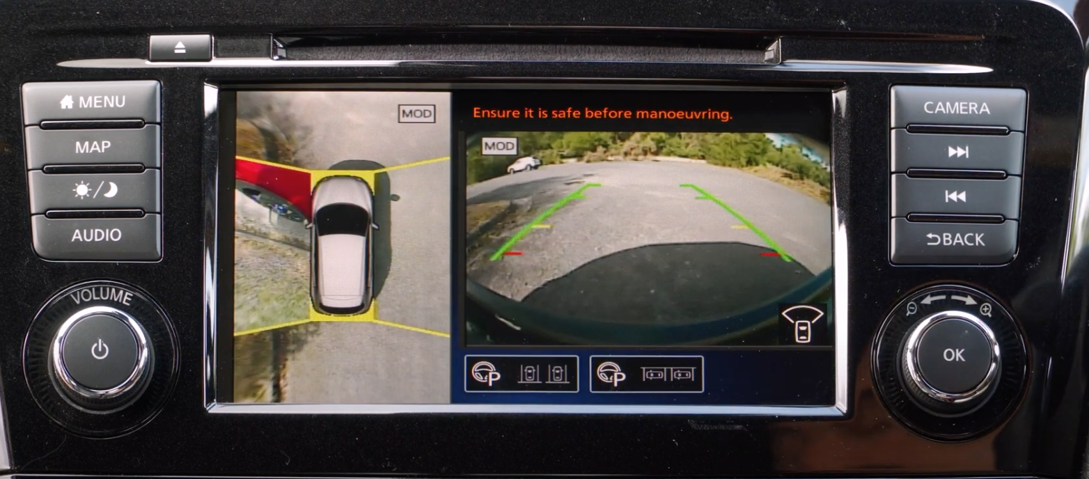 View of the rearview camera on the infotainment screen to assist with parking