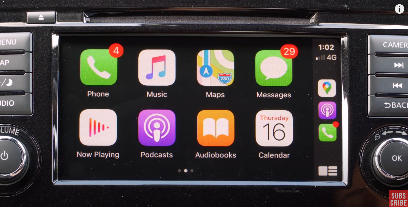 How the Apple Carplay interface looks on the infotainment screen