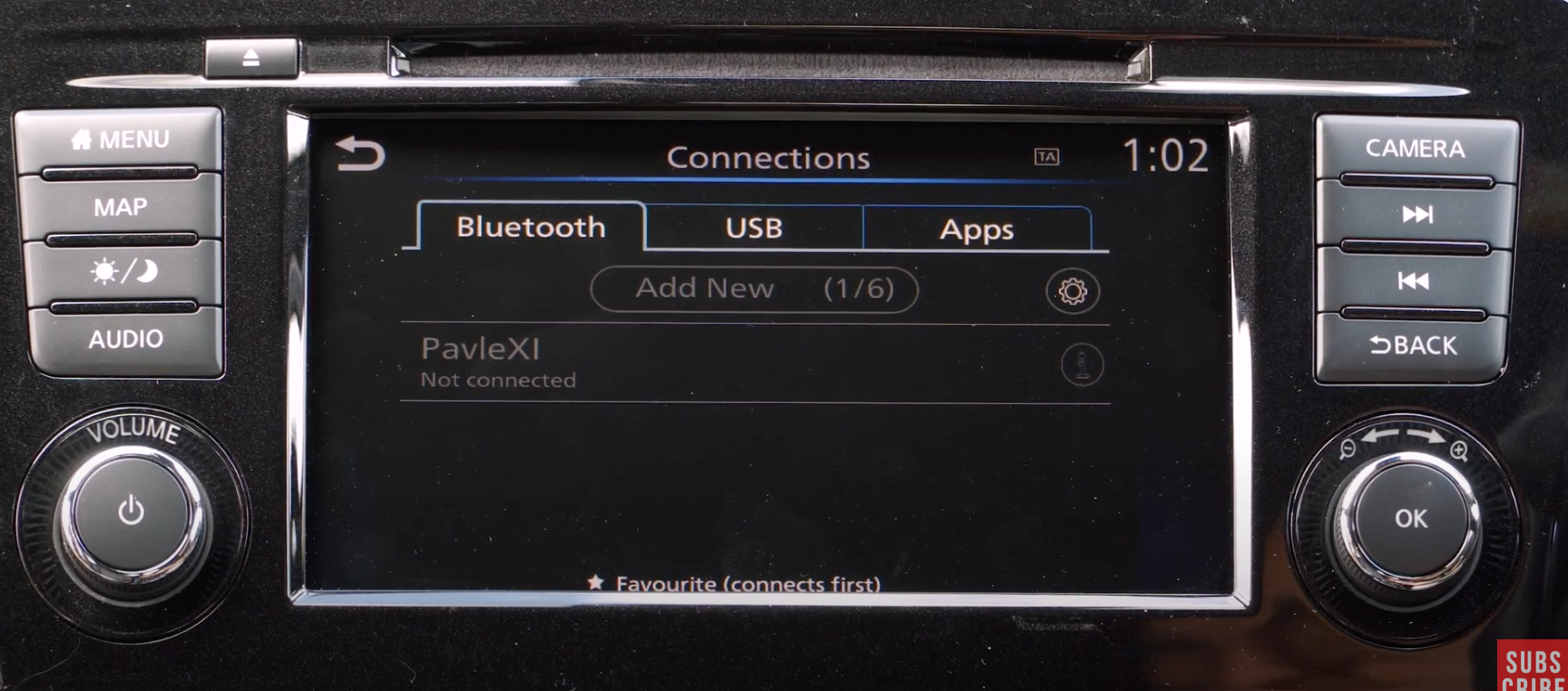 Connectivity screen where a user can set up Bluetooth