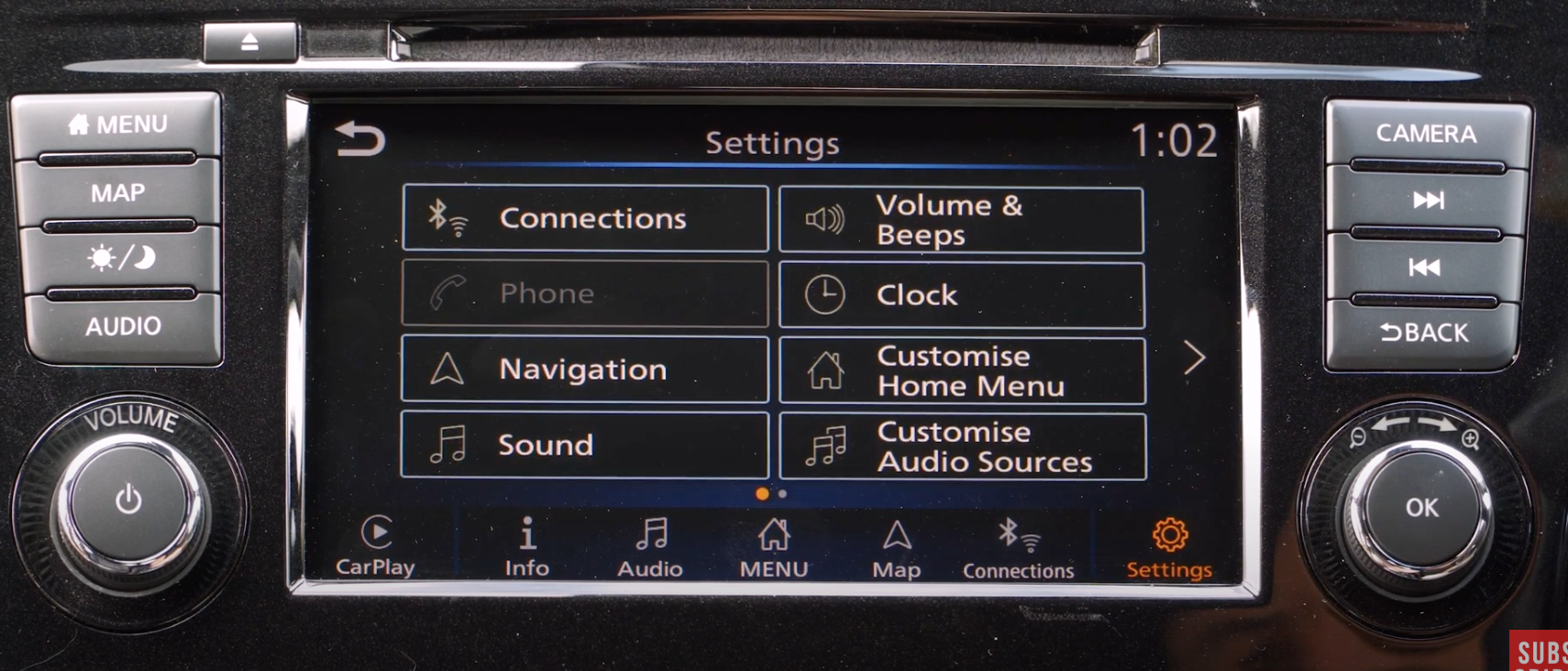 A list of various infotainment display settings such as clock and navigation