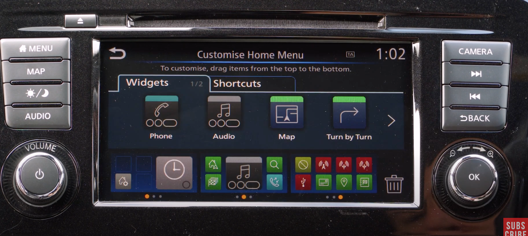 Customizing the home screen menu with selecting widgets and shortcuts
