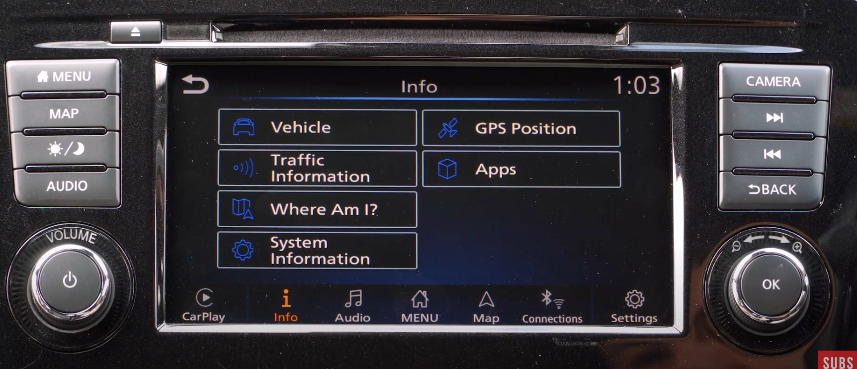 A list of information about various things in the car such as the vehicle, apps or system information