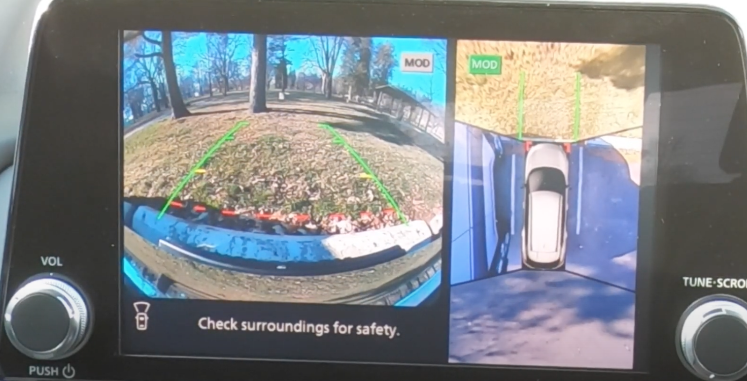 A view of the rearview camera on the infotainment screen to assist with parking