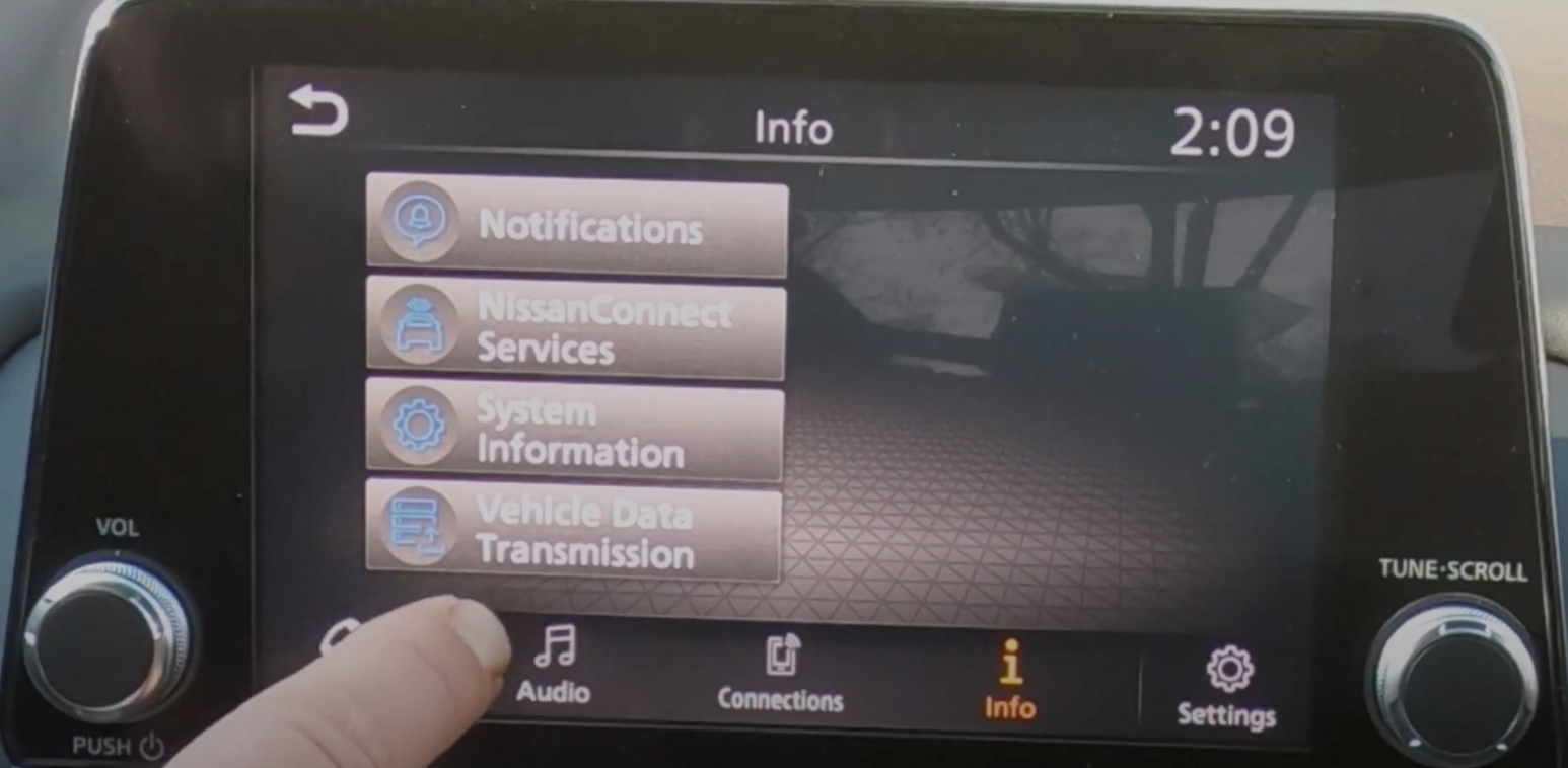 A list of information about various things such as notifications, vehicle data transmission etc