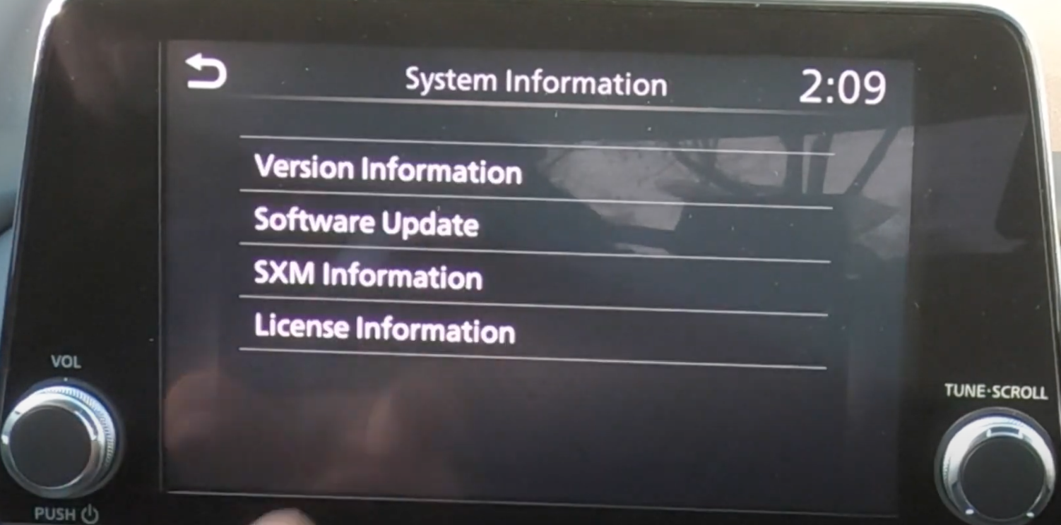 A list of system information such as software update, version information etc