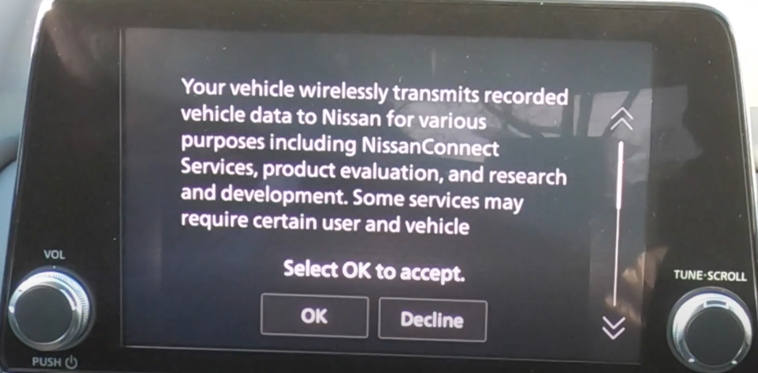 Disclaimer informing a user that their car is collecting data to share with the manufacturer and option to accept or decline
