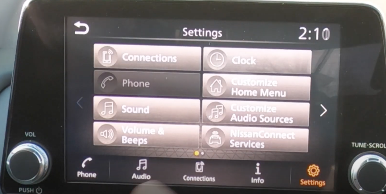 A various list of infotainment settings all in one page to chose from such as clock and sound settings