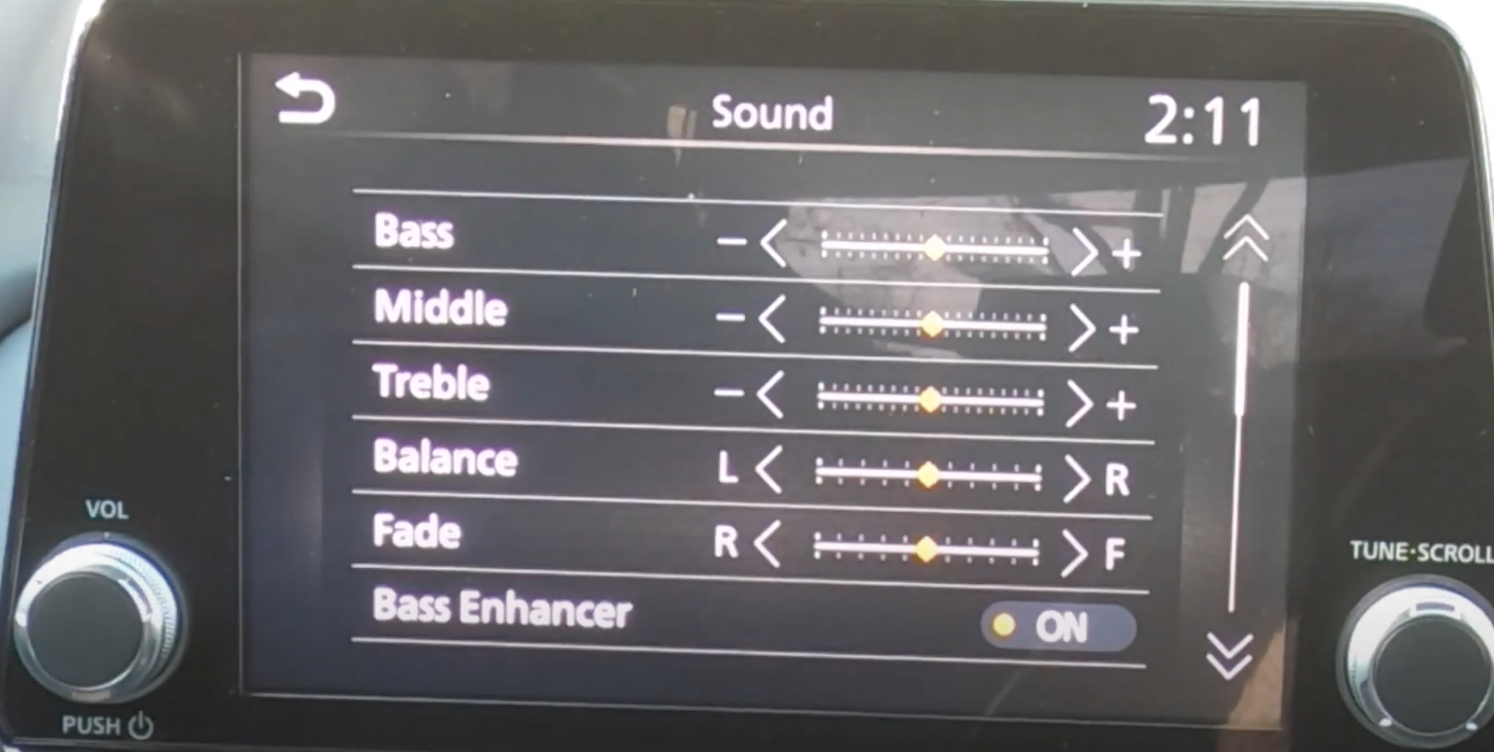 Sounds settings such as bass, middle treble etc and sliders to adjust them