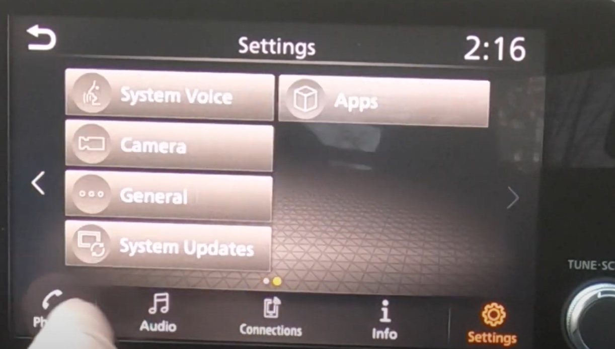 A list of various settings such as system updates and system voice