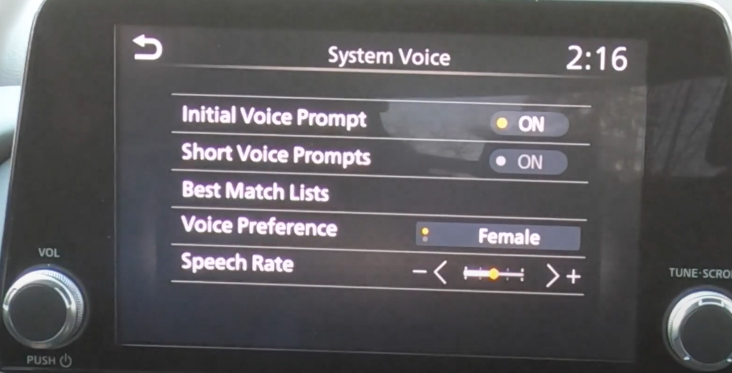 Adjusting the settings for the voice recognition such as gender preference or speech rate