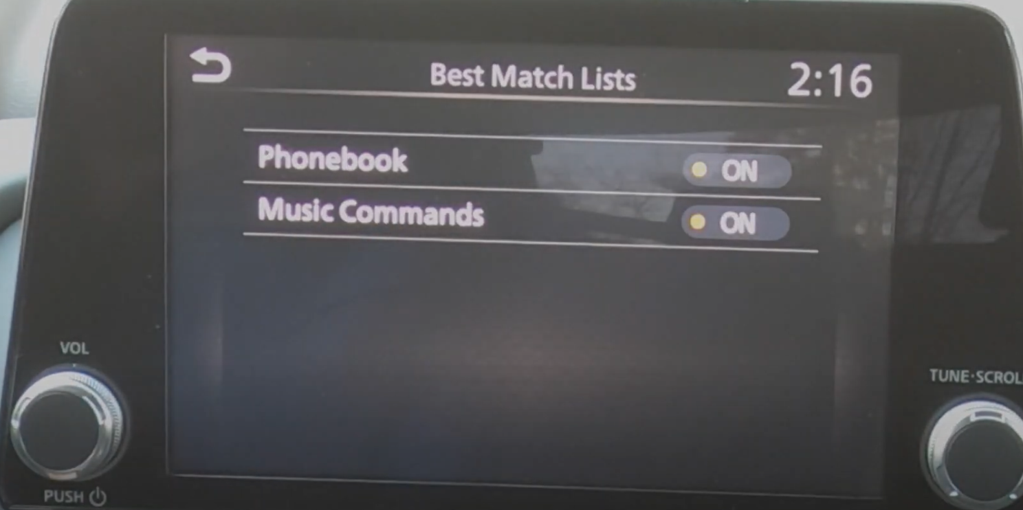 Settings button for the cameras outside the car