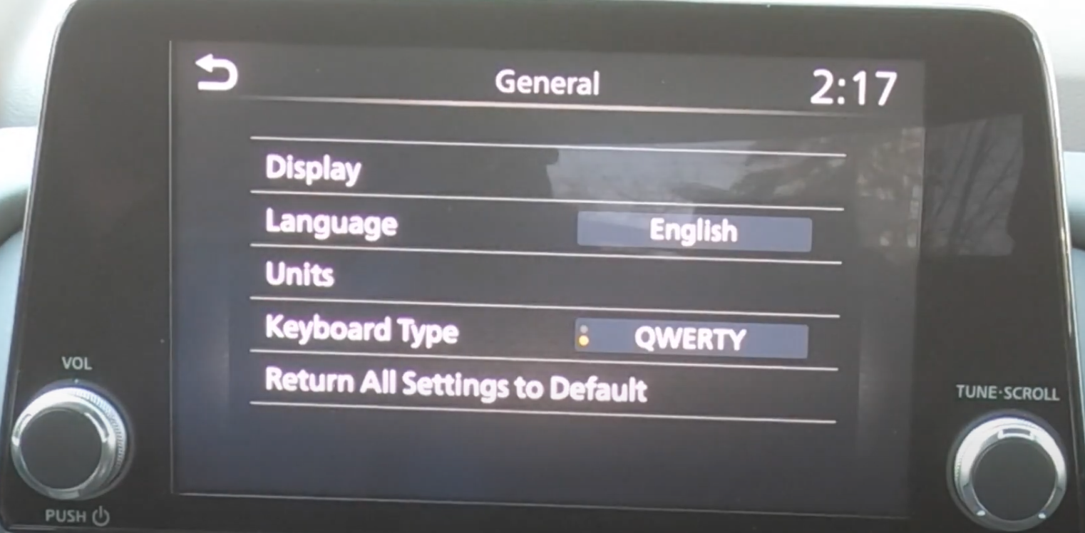 List of general settings such as language and units
