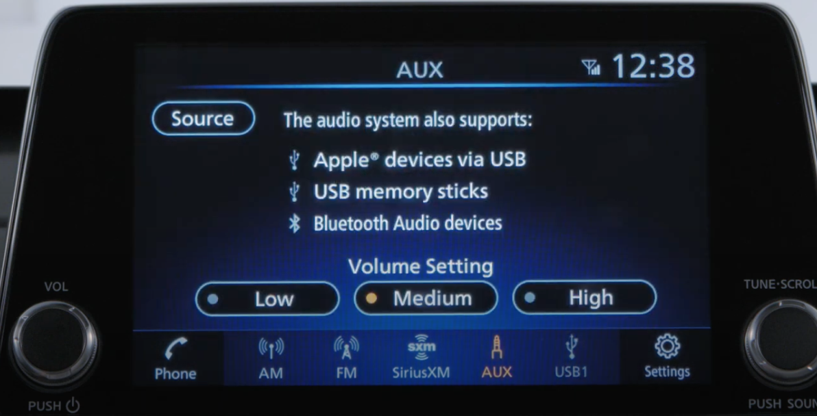 Adjusting the volume settings from low to high and information on what the audio system supports