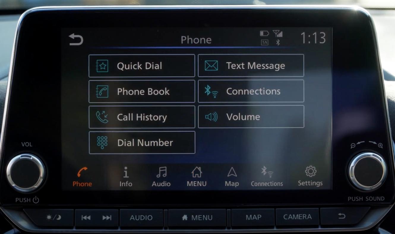 Phone menu where a user can access call history, phone book, messaging etc