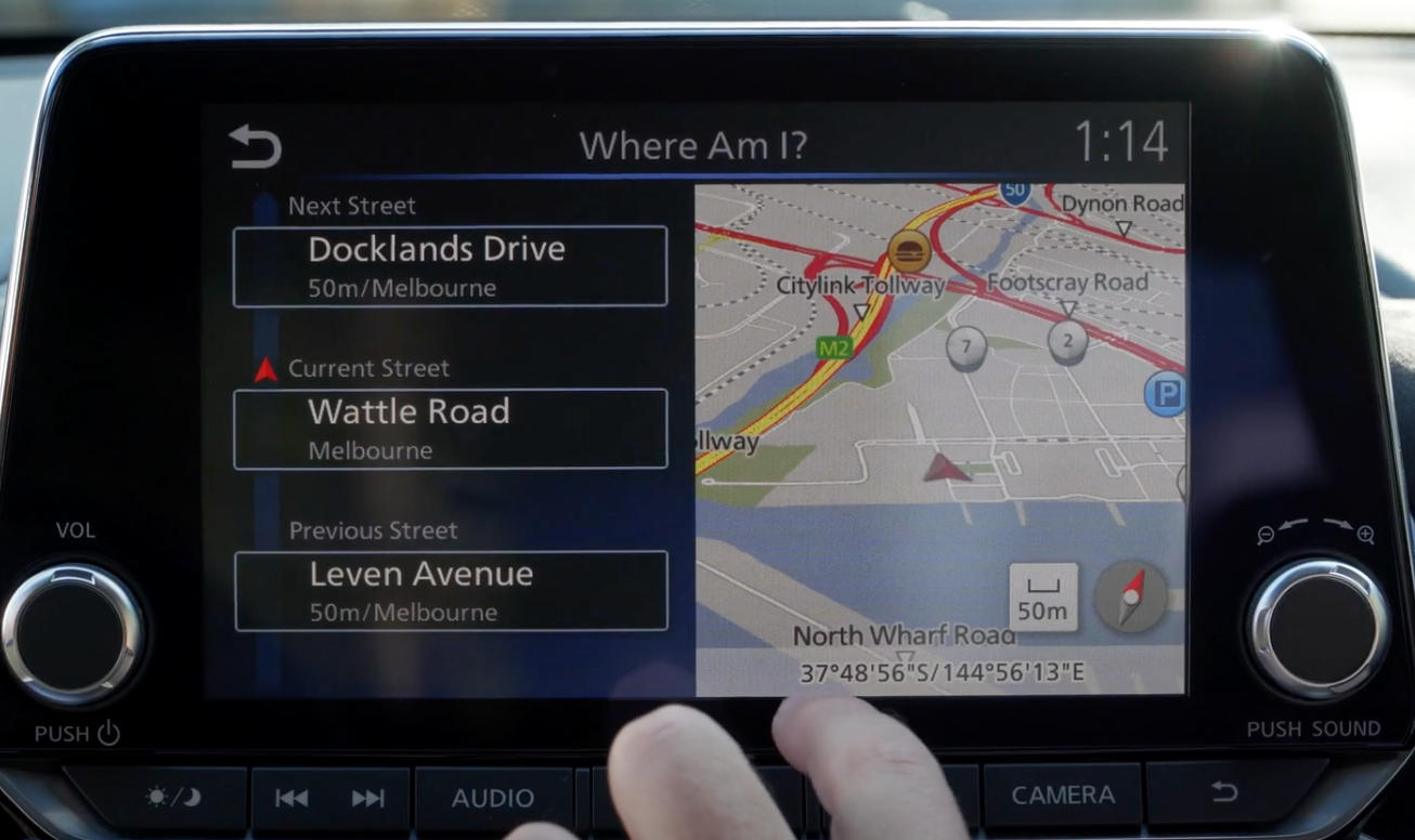 The GPS system letting a user know where they are currently located