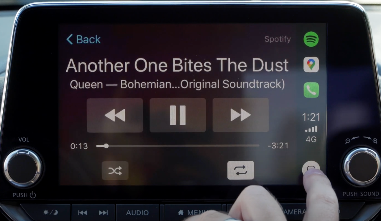 How the interface Apple Carplay music looks on the infotainment display