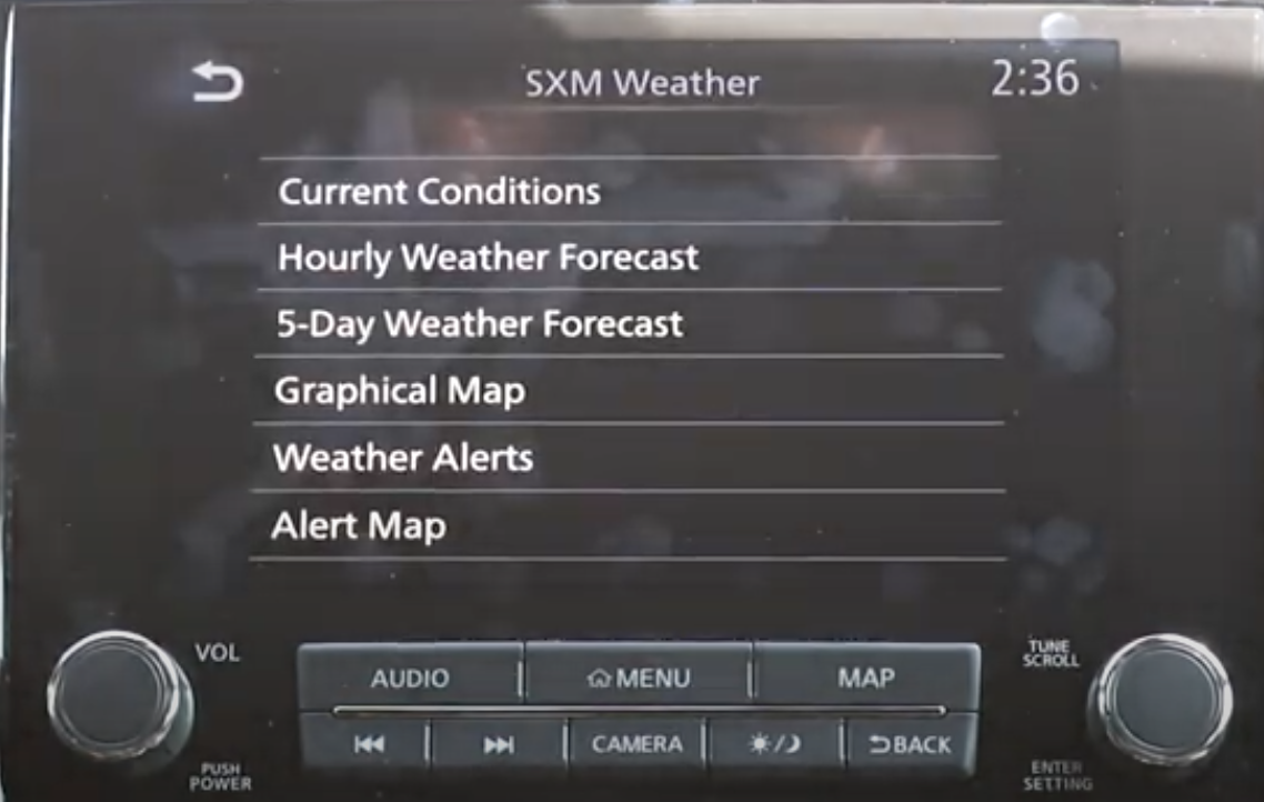 A list of various weather options such as seeing hourly weather, graphical map or weather alerts