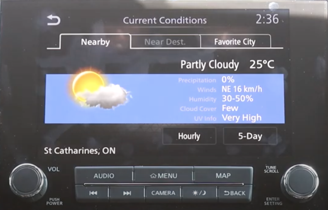 Weather report with temperature, illustration of the sun and detailed information such as UV info and humidity