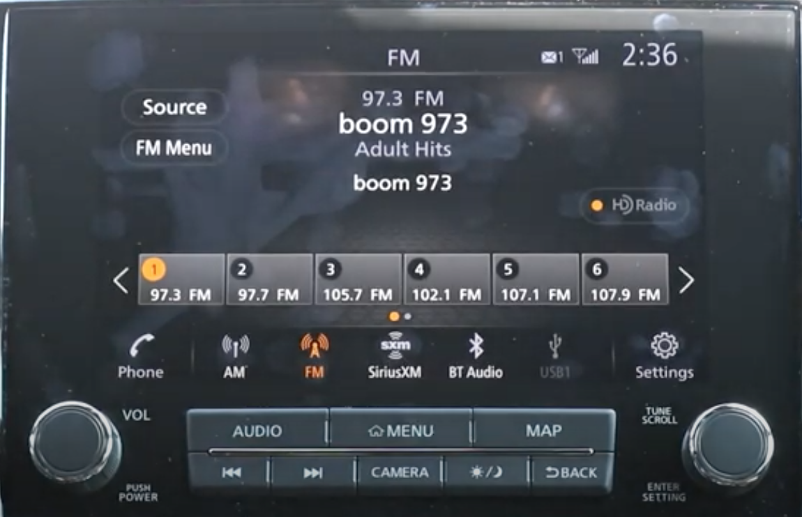 Radio player with what is currently being played and presets underneath