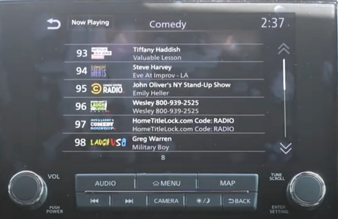 In the player function, there is a list of comedy selections to listen