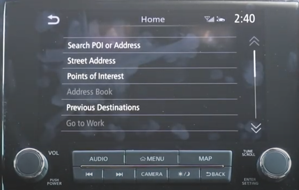 A list of various methods to search an address within the navigation system such as street address or point of interests