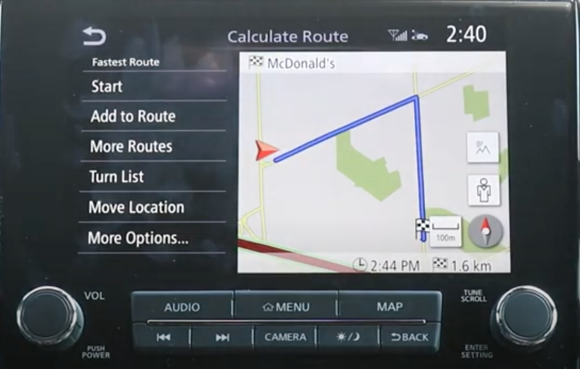 Route preview on the right with the journey highlighted in blue and options on the left such as start, add route or other options