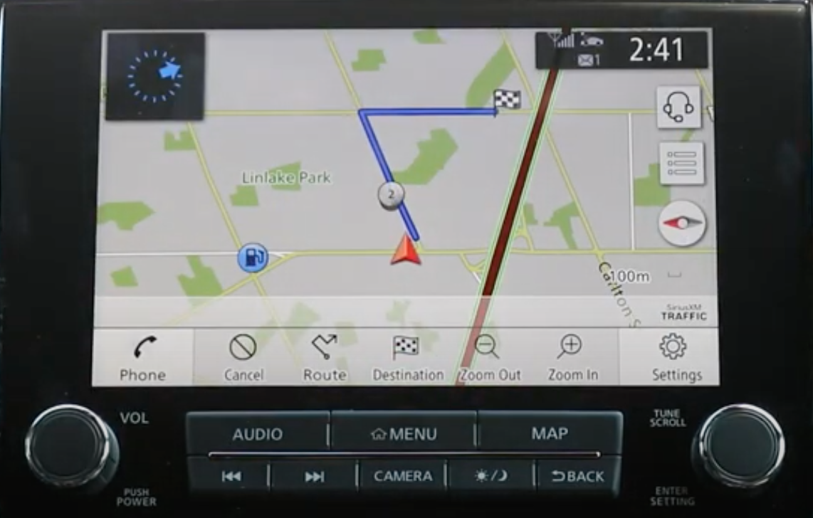 Turn by turn navigation with the journey highlighted in blue with an arrow at the current location and a flag at the desired destination