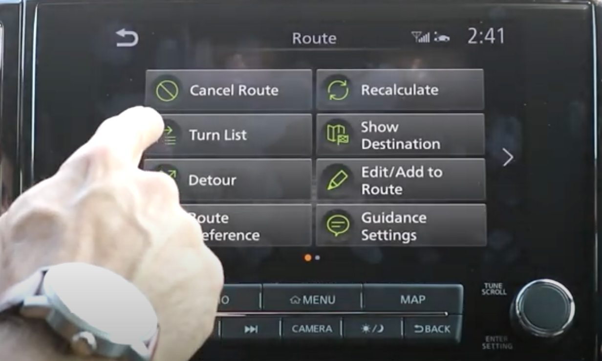 Various navigation tools such as adding destination, cancelling or seeing routes options