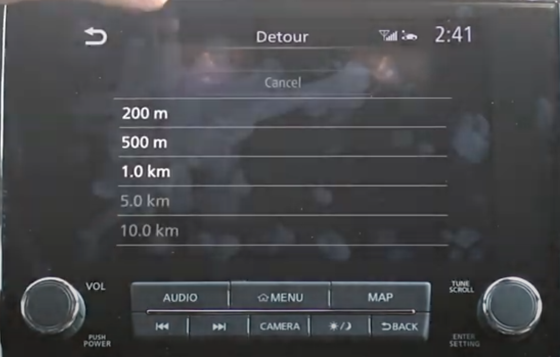 Chosing from a list of distances within the detour menu