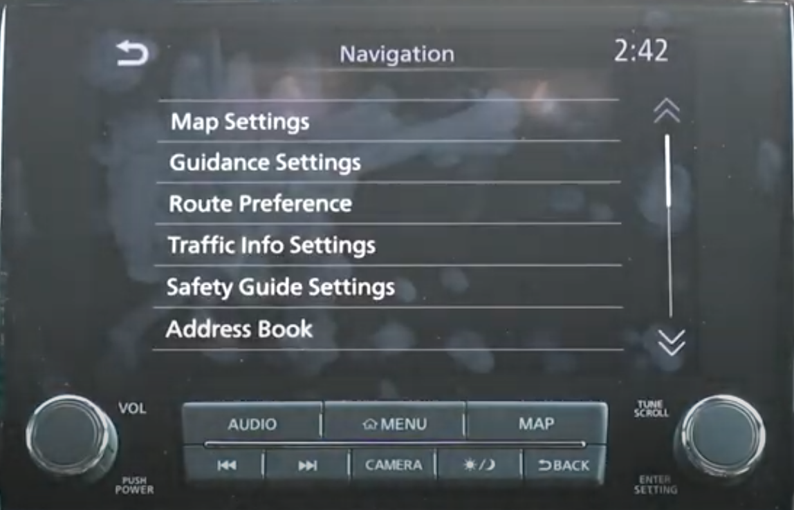 A list of settings for the navigation such as guidance and map settings